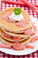 Rhubarb and ginger pancakes