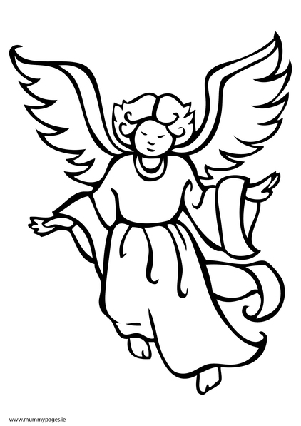 Angel Coloring Pages Pdf : Christmas angel flying colouring page mummypages ie