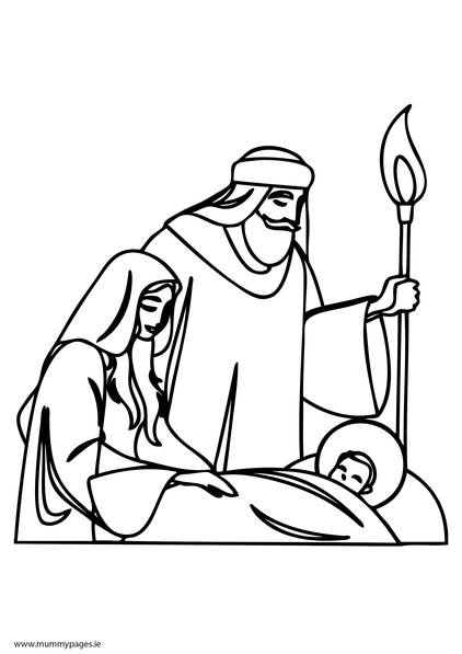 Joseph Coloring Pages Pdf : Mary joseph and baby jesus colouring page mummypages ie