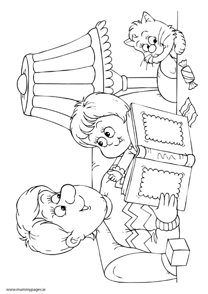 Daddy and child reading colouring page for Reading coloring page