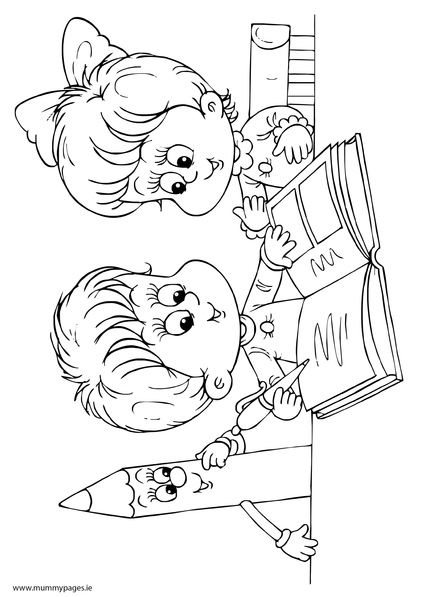 boy and girl reading a book colouring page