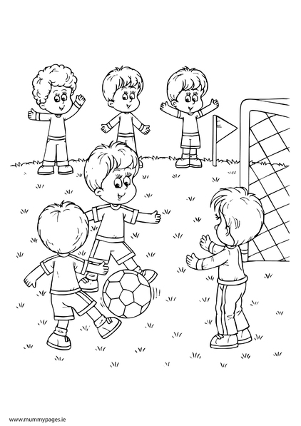 Boys Playing Football Colouring Page