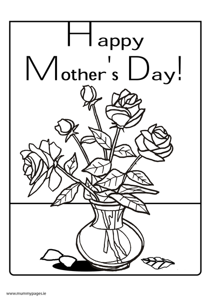 Happy Mother's Day with flowers Colouring Page