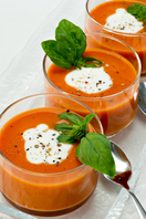 Cream of roasted red pepper and tomato soup