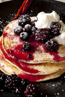 American pancakes with berry compote