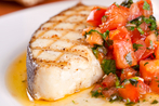 Moroccan infused halibut with tomato salsa