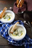 Roasted garlic and potato soup