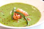 Asparagus potato soup with shellfish and herb sour cream