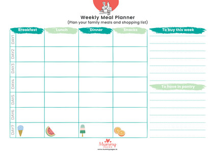 weekly meal planner mummypages mummypages ie