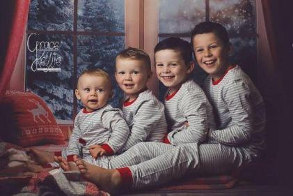Beautiful: The Rooney kids are adorably matching for their family Christmas card