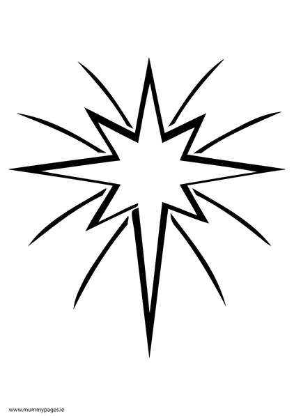 Christmas star in sky Colouring Page MummyPages
