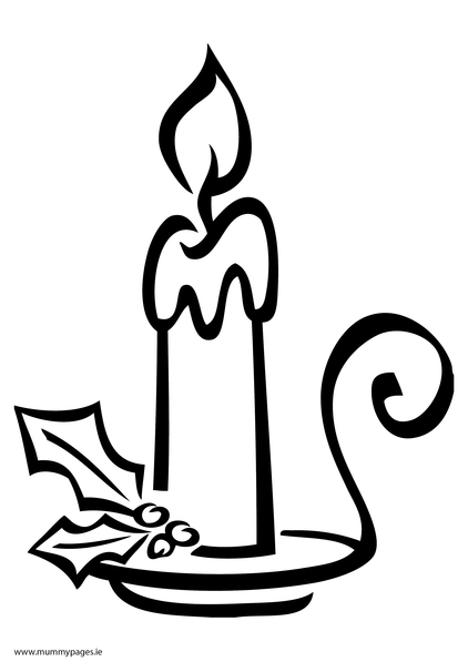Christmas candle colouring page mummypages for Christmas candle coloring page