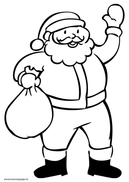 santa with sack colouring page to download it just click the download pdf button underneath the screen shot if you dont have adobe pdf reader