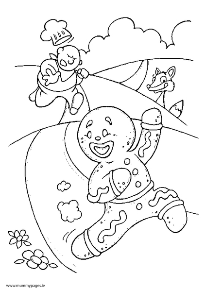 The Gingerbread Man Colouring Page MummyPagesMummyPagesie