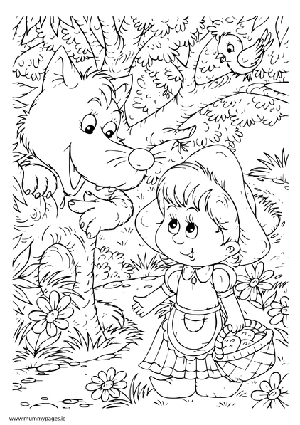 Little red riding hood with the big bad wolf for Red riding hood coloring pages