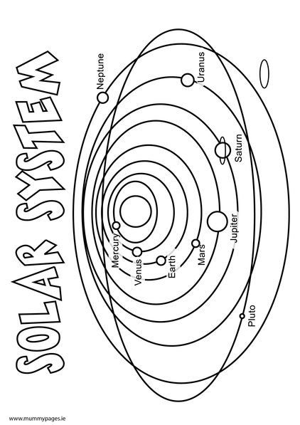 Solar system colouring page mummypages for The solar system coloring pages