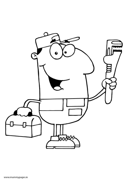 plumber colouring page mummypagesmummypagesie