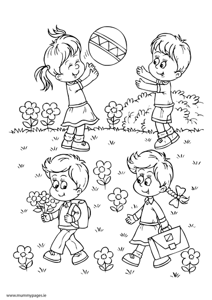 Boy girls playing in summer Colouring Page MummyPages