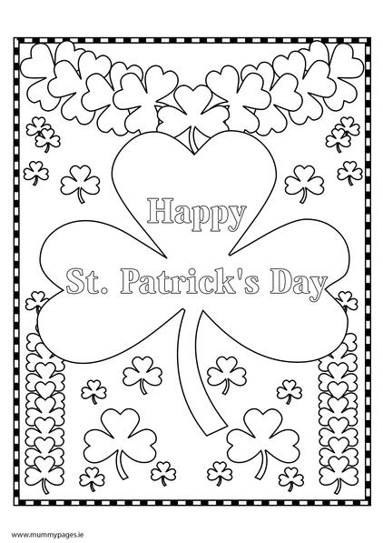 St Patricks Day shamrock Colouring Page MummyPagesMummyPagesie
