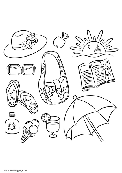 Summer doodles Colouring Page | MummyPages.MummyPages.ie