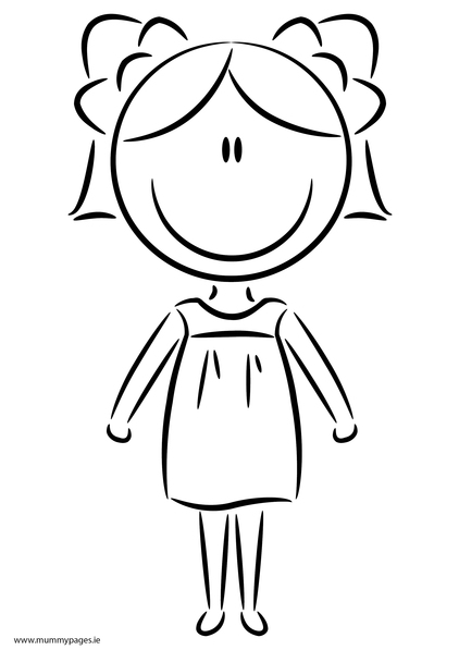 Girl in summer dress colouring page mummypages for Dress coloring pages for girls