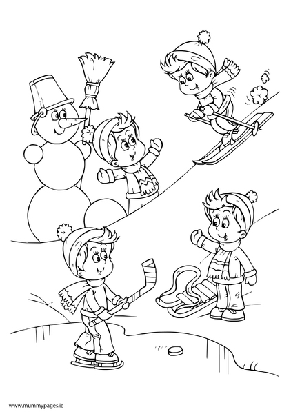 children playing in snow colouring page - Colouring Pages Children