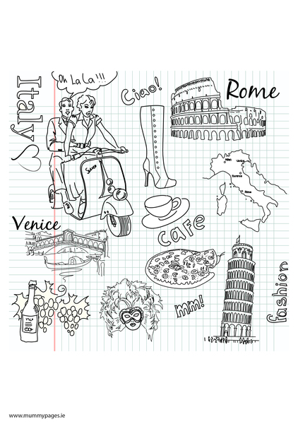 Travel doodles italy colouring page mummypages for Italian coloring pages