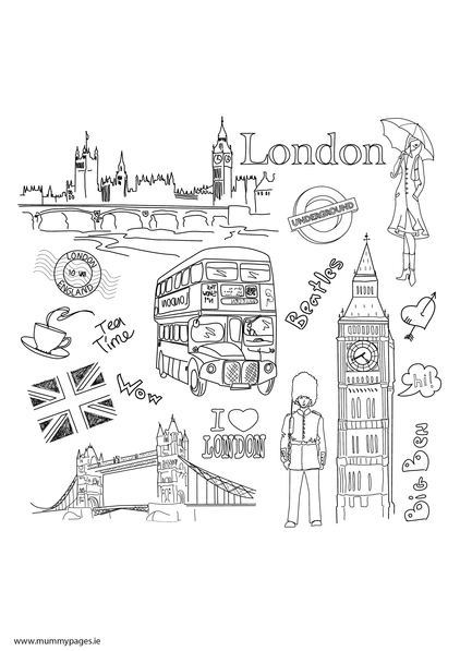 Travel doodles London Colouring Page | MummyPages ...