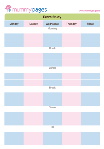 Exam Study Timetable Mummypages Mummypages Ie
