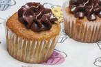 Peanut butter cupcakes and chocolate icing