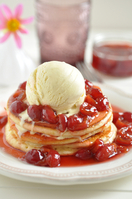 American style cherry pancakes with HB Vanilla Ice Cream
