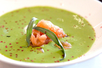 Asparagus potato soup with shellfish and herb sour cream
