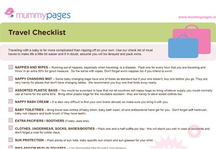 Travel Checklist  MummypagesMummypagesIe