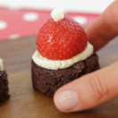 Santa hat brownie bites