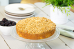Blackberry and apple crumble cake
