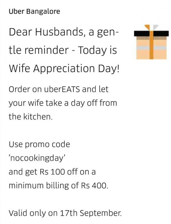 Let your wife take a day off from the kitchen': Uber apologise